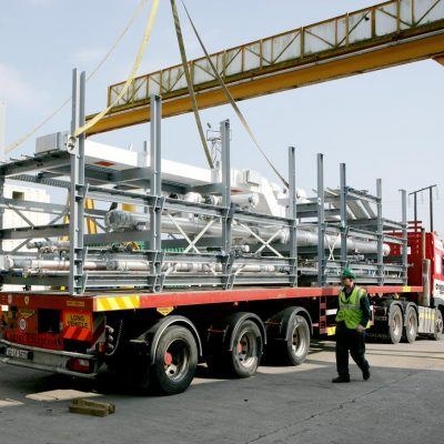 Modular pipework being transported